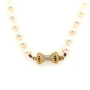 Pre💛 14k Bow Clasp Cultured Pearl Necklace